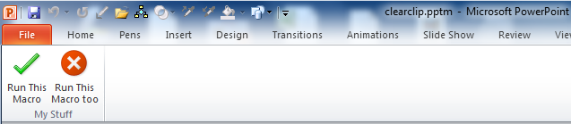 PowerPoint 2007 Add a button to Ribbon