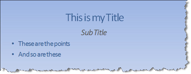 "Typical ""Sub Titled"" slide"